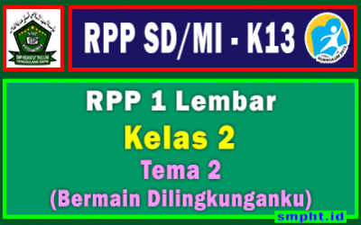 RPP 1 Lembar Kelas 2 Tema 2 SD/MI Kurikulum 2013 Tahun Pelajaran 2021-2022